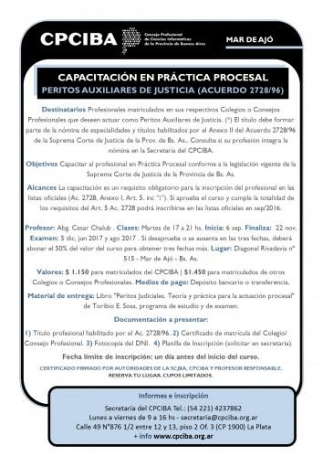 En Mar de Ajó, Capacitación en Práctica Procesal - Peritos | Inicia 06/09