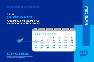 Recordatorio vencimiento 13-09 cuota 3 año 2021 - CPCIBA