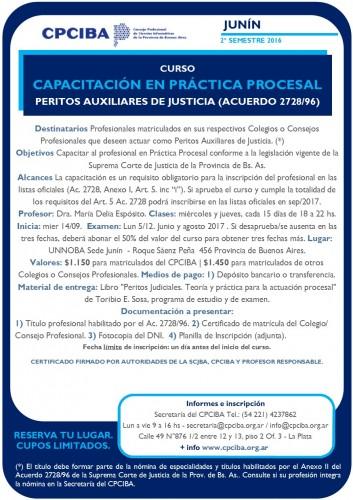 En Junín, Capacitación en Práctica Procesal - Peritos | Inicia 14/09