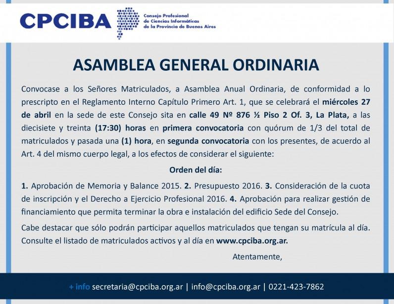 27/4 Asamblea General Ordinaria