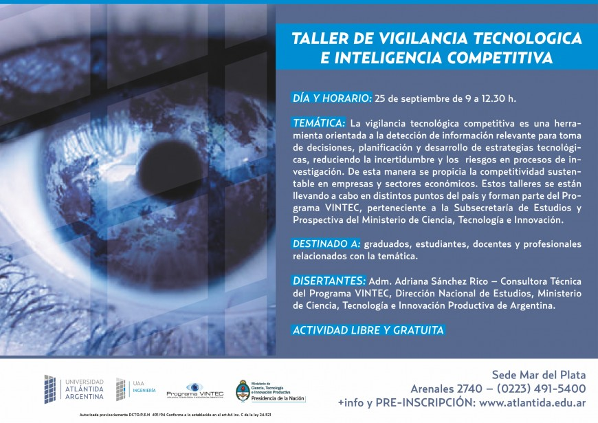 Taller de Vigilancia Tecnológica e Inteligencia Competitiva en UAA - Mar del Plata - 25 de septiembre